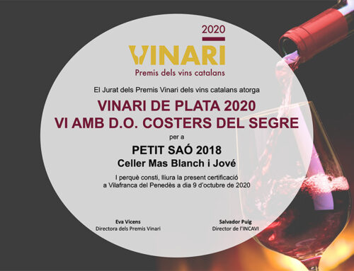 Petit Saó 2018 –  Bronze Vinari in the category of wines +6 months of aging & Silver Vinari of DO Costers del Segre 2019