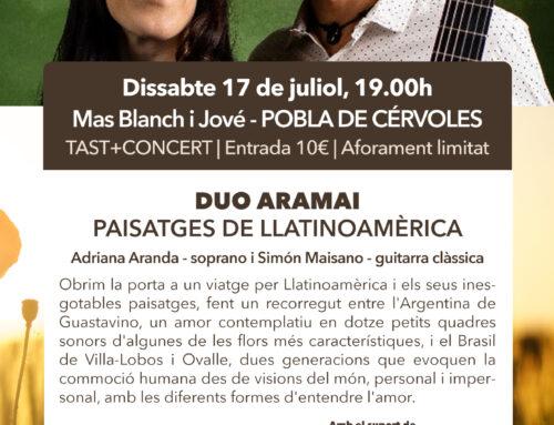 Sábado 17 de julio: concierto de Dúo Aramai con cata de vinos